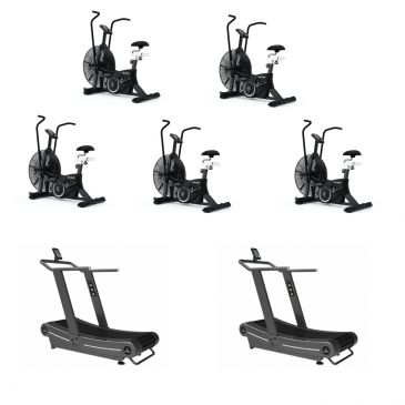 Titanium Strength Pack 5 AirBike + 2 Curved Treadmills, HIIT Cardio, Fitness, Crossfit