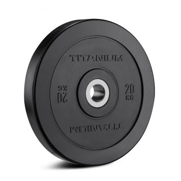 Titanium Strength HD Bumper Plates Black 44 LB, Olympic, Functional, Crossfit, Fitness, Home Gym