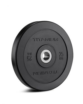 Titanium Strength HD Bumper Plates Black 55LB, Olympic, Functional, Crossfit, Fitness, Home Gym