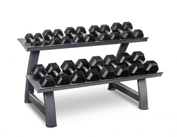 Titanium Strength Hex Dumbbell Set 5 - 45LB + Rack