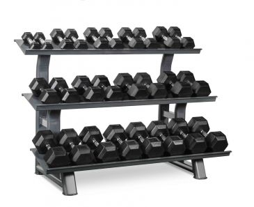 Titanium Strength Hex Dumbbell Set 5 - 65LB + Rack, Olympic, Functional, Crossfit, Fitness, Home Gym