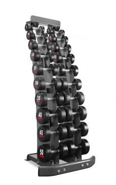 Titanium Strength Rubber Dumbell Set 5LB to 50LB + Rack